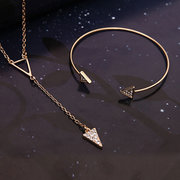 Rose Gold Crystal Triangle Wedding Necklace Earrings Jewelry Set