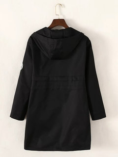 Casual Pure Color Long Sleeve Zipper Button Hooded Jacket For Women
