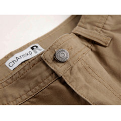 ChArmkpR Causal Multi-pocket Outdoor Loose Solid Color Plus Size Cotton Cargo Pants For Men