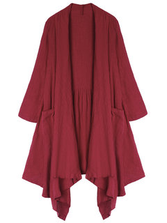 Casual Women Solid Pleated High Low Long Cardigan