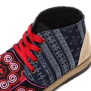 Flax Embroidered Chinese National Style Lace up Boots