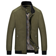 Mens Autumn Solid Color Zipper Fly Stand Collar Slim Fit Cotton Casual Washed Jacket
