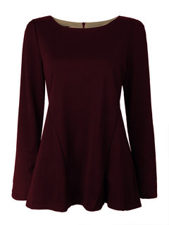 Women Patchwork Long Sleeve Pure Color O-neck T-shirt