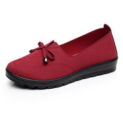Big Size Soft Bowknot Pure Color Stitching Slip On Flat Lazy Loafers