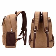 Casual Canvas Backpack Square Computer Bag Solid School Bag For Man