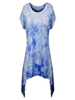 Irregular Hem Abstract Printed Casual Women Shirt
