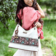 Women National Style Linen Casual Large Capacity Handbags Shoulder Bags Crossbody Bags