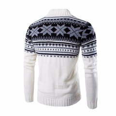 Snowflake Printing Knitted Cardigan Sweater Single Breasted Stand Collar Sweater for Men