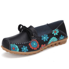Flower Print Lace Up Soft Flat Comfortable Leather Loafers
