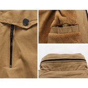 Men's Fashion Stand Collar Thick Warm Jacket Cotton Solid Color Casual Trench Coat