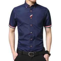 Mens Business Cotton Solid Color TurnDown Collar Short Sleeved Cotton Casual Dress Shirts