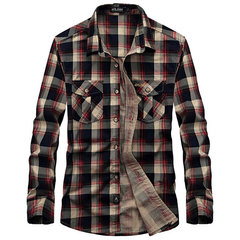 Casual Loose Fit Cotton Turn-Down Collar Long Sleeve Plaid Dress Shirt For Men