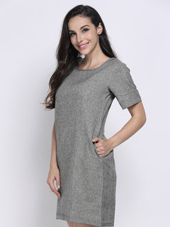 OL Brief Belt Solid Straight Loose Women  Dress