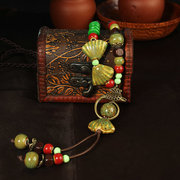Ethnic Style Jewelry Bowknot Ceramic Bead Sweater Necklace
