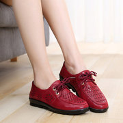 Pure Color Breathable Lace Up Casual Soft Flat Driving Shoes