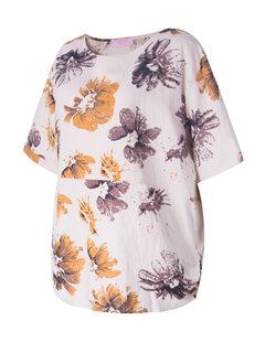 Casual Women O-Neck Half Sleeve Flower Printing T-Shirt