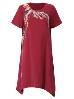Casual Women Embroidery Patchwork High Low Linen Cotton Dress