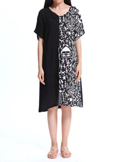 Casual Printed Patchwork Color Contrast Dress For Women