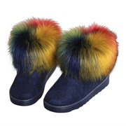 Colorful Artificial Fur Ankle Flat Snow Boots