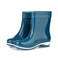 Конфеты цвет пряжки Тонкий хлопок Держите теплый водонепроницаемый скольжения на Mid Calf Flat Rain Boots