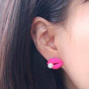 Vintage Bright Red Lips Artificial Pearl Earrings for Women