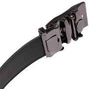 Adjustable Black Genuine Leather Men Automatic Metal Buckle Belt