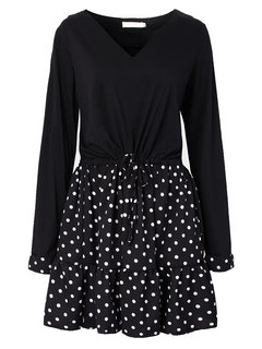 Casual Women Polka Dots Patchwork A-line Mini Dress