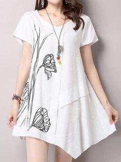 Women Lotus Printing Patchwork High Low Cotton Linen T-shirt