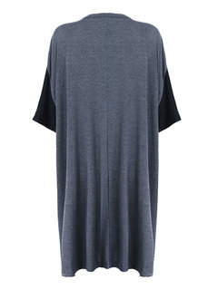 Loose Color Block O-Neck Half Sleeve High Low Dress For Women