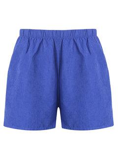 Casual Women Pure Color Pocket Elastic Waist Beach Shorts