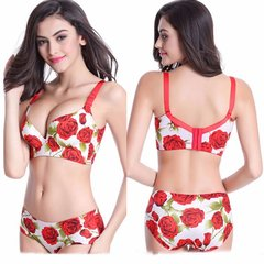 Rose Printed Deep V Sexy Seamless Full Cup Gather Push Up Thin Bras