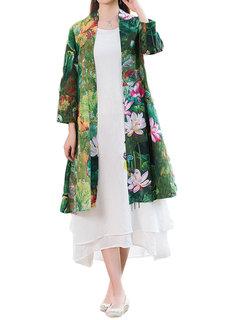 Loose Women Floral Printing Cotton Linen Outerwear