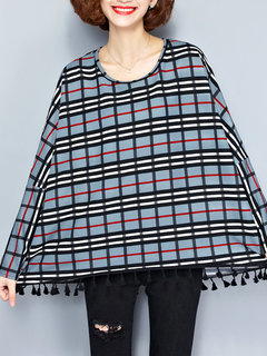 Women Loose Fashion Plaid Batwing Sleeve O Neck Tassel Pullover Blouse
