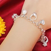 Silver Plated Crystal Metal Chain Bracelet
