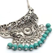 Tibetan Silver Turquoise Pendant Vintage Snake Necklace