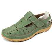 Socofy Hook Loop Leather Flat Hollow Out Breathable Soft Casual Shoes