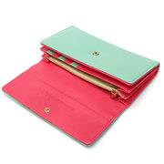 Women Candy Color Leather Long Wallet Casual Purse