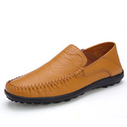 Big Size Men Drving Leather Slip On Pattern Flat Loafers For Men