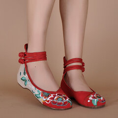 Floral Print Color Match Chinese National Wind Style Vintage Button Flat Shoes
