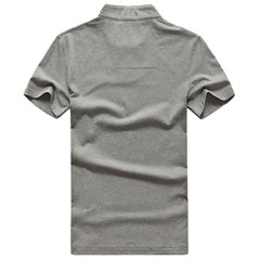Casual Loose Cotton Solid Color Polo Shirt Plus Size Short Sleeve V-Neck T-Shirt For Men