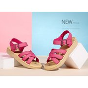 Camel Leather Peach Strappy Buckle Soft Peep Toe Flat Sandals