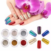 6 Colors Mirror Chrome Powder Metallic Effect Additive Pigment Nail Art Kit With Primer Top Coat