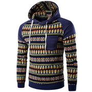 Mens Hoodies Retro Ethnic Style Pattern Printing Front Pocket Sport Hooded Tops