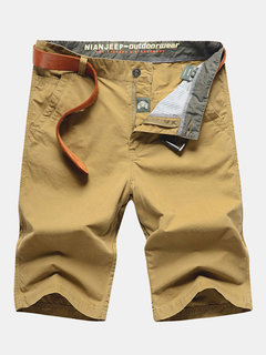 Casual Cotton Solid Color Straight Plus Size Beach Shorts For Men