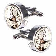 Men Silver Cufflink Mechanical Watch Pattern Cufflinks Wedding Gift Suit Shirt Accessories