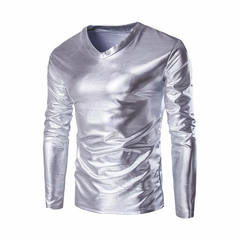 Casual Fashion Gold Foiling Costume V-Neck Slim Fit Long-Sleeve T-Shirt for Men
