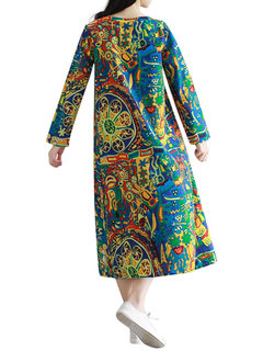 Casual Colorful Printed O-Neck Long Sleeve Robes Dress For Women
