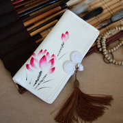 Hand-painted Chinese Style  Thickening Pankou Miss Wallet Clutch Canvas Purse