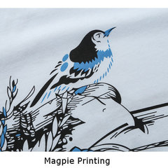 Mens Fashion Magpie Printing Folk Style T-shirt Casual V Collar Short Sleeved Tops Tees