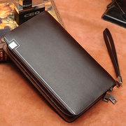 Men Business PU Leather Portable Bag Zipper Wallet Phone Bags For iPhone Samsung Xiaomi Huawei